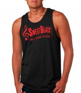 Sweet Beats Black Tank Top Neon Red - DJ Clothing from JimmyTheSaint
