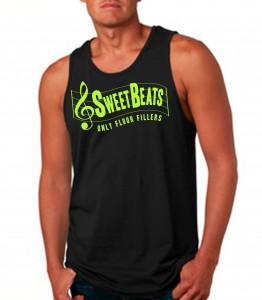 Sweet Beats Black Tank Top Neon Yellow - DJ Clothing from JimmyTheSaint