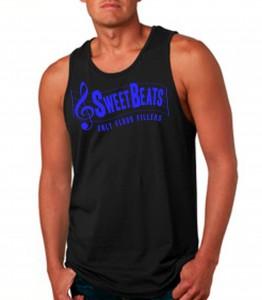 Sweet Beats Black Tank Top Neon Blue - DJ Clothing from JimmyTheSaint