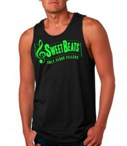 Sweet Beats Black Tank Top Neon Green - DJ Clothing from JimmyTheSaint