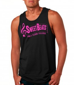 Sweet Beats Black Tank Top Neon Pink - DJ Clothing from JimmyTheSaint