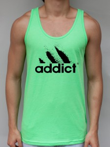 Addict Neon Green Tank Top - EDM Clothing from JimmyTheSaint
