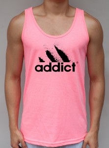 Addict Neon Pink Tank Top - EDM Clothing from JimmyTheSaint