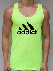 Addict Neon Yellow Tank Top - EDM Clothing from JimmyTheSaint