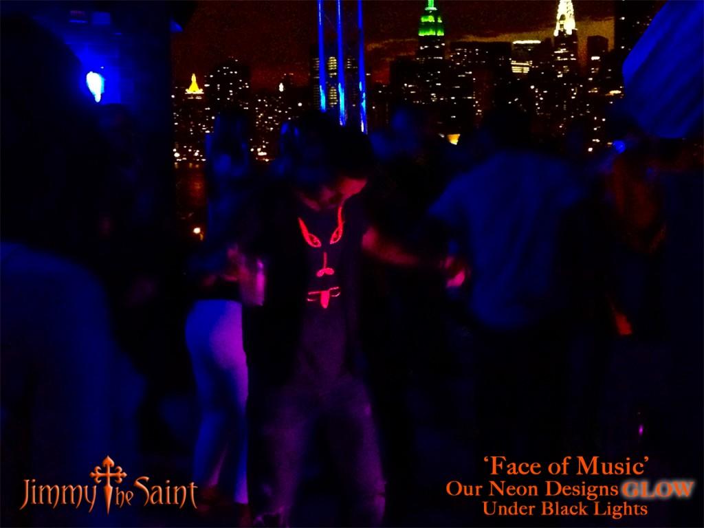 JimmyTheSaint - Face of Music - Black Light Glow Clothing