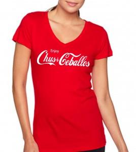 Enjoy Chus & Ceballos Women's Red V-Neck T-Shirt